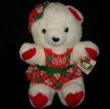 "18"" 1986 VINTAGE 1990 KMART CHRISTMAS WHITE TEDDY BEAR STUFFED ANIMAL PL... - $46.28"
