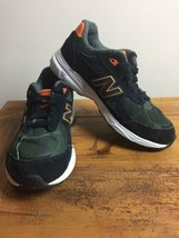 New Balance 990 Boys Athletic Shoes Dark Green/Orange KJ990J2G  Sz 7 sne... - $29.65