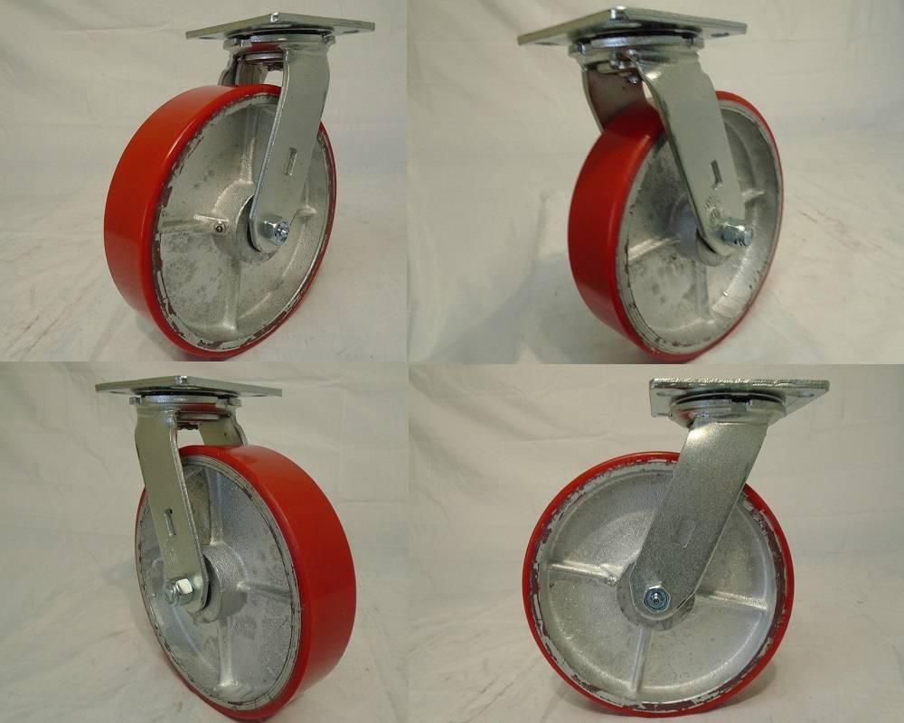 """5/"""" x 2/"""" Rubber Caster Wheels Steel Hub w// Roller Brg /& 1//2/"""" Bushing 400lb ea 4"""