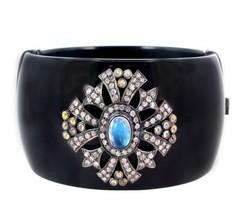 Moonstone 14k Gold Bakelite Bangle Bracelet Pave 2.31 Ct Diamond Sterlin... - $1,194.93
