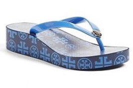 Tory Burch Wedge Flip Flop Navy & Grand Marina Size 11 Authentic New - $54.45
