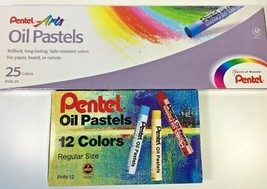 Pentel Arts Oil Pastels Artist Drawing 2 Box Sets Kits 25 ct 12 ct PHN-2... - $14.46