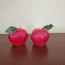 """STRAWBERRY SCENTED CANDLES Set of 2 Red Strawberries Shape Candle 2 1/4"""" H"""