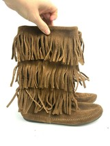 Minnetonka Women's Brown Leather Frills Hippie Calf Moccasin Shoes Size 10 - $88.11