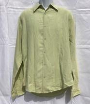 Cubavera Mens Shirt Linen Blend Button Front Panel Long Sleeve Green Sz ... - $14.03