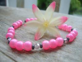 Pink Glass Pearl Grey Hematite Beaded Stretch Bracelet Bridal Awareness - $11.35