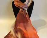 Hand Painted Silk Scarf Cream Peach Tan Brown Womens Rectangle Unique New Gift