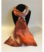 Hand Painted Silk Scarf Cream Peach Tan Brown Womens Rectangle Unique Ne... - $56.00