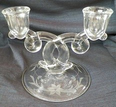 Heisey Lariat 2 Light Candleholder With Etched Base Clear Glass Candlestick  -A3 - $9.99