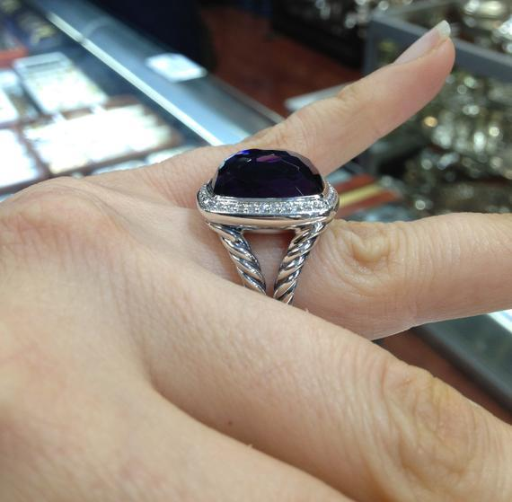 Pre Owned David Yurman 17mmx17nn  Black Orchid Albion Ring Size 8