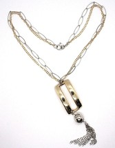 SILVER 925 NECKLACE, DOUBLE CHAIN, WHITE AND YELLOW, RECTANGLE FRINGE, HANGING image 1