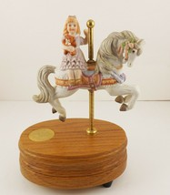 Vintage Lefton  Hand Painted Porcelain Carousel Horse & Girl Music Box 1989  - $19.75