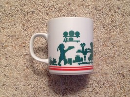 Coffee Mug Silhouette Mrs Claus Santa Elves 1984 Christmas - $21.78
