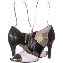 AK Anne Klein Opted Peep-Toe Dress Sandals, Black/White 499, Black/White... - $33.59