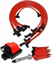 87 97 Chevy GMC TBI Distributor, 8mm Spark Plug Wires, E-Core Ignition Coil Set