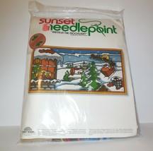 Sunset Needlepoint new SANTA IN THE MOONLIGHT Kit # 6086 NIP 10x20 (1979... - $21.75