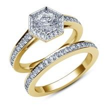 Octagon Shape Bridal Ring Set 14k Yellow Gold FN 925 Silver Round Cut White CZ - $91.50