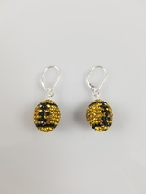 swarovski crystal football earring, Pittsburgh Steeler,Sterling Silver l... - $39.99