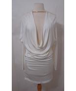 ALEXANDER WANG Dress Ivory Double Knit Dolman Low Cut Gold Bar Stretch N... - $449.99