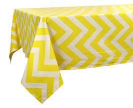 60 x 84 in. Cotton Tablecloth Chevron Stripes Yellow & White - $24.16