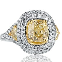 Cushion Cut 3.55 Ct Yellow Diamond Engagement Ring Trillion Sides 18k Wh... - €7.046,97 EUR