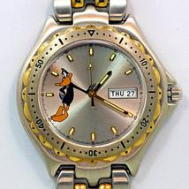 Daffy Duck Fossil Blue Style Day Date Mans Quartz 30M WR, Watch 2 Tone B... - $117.66