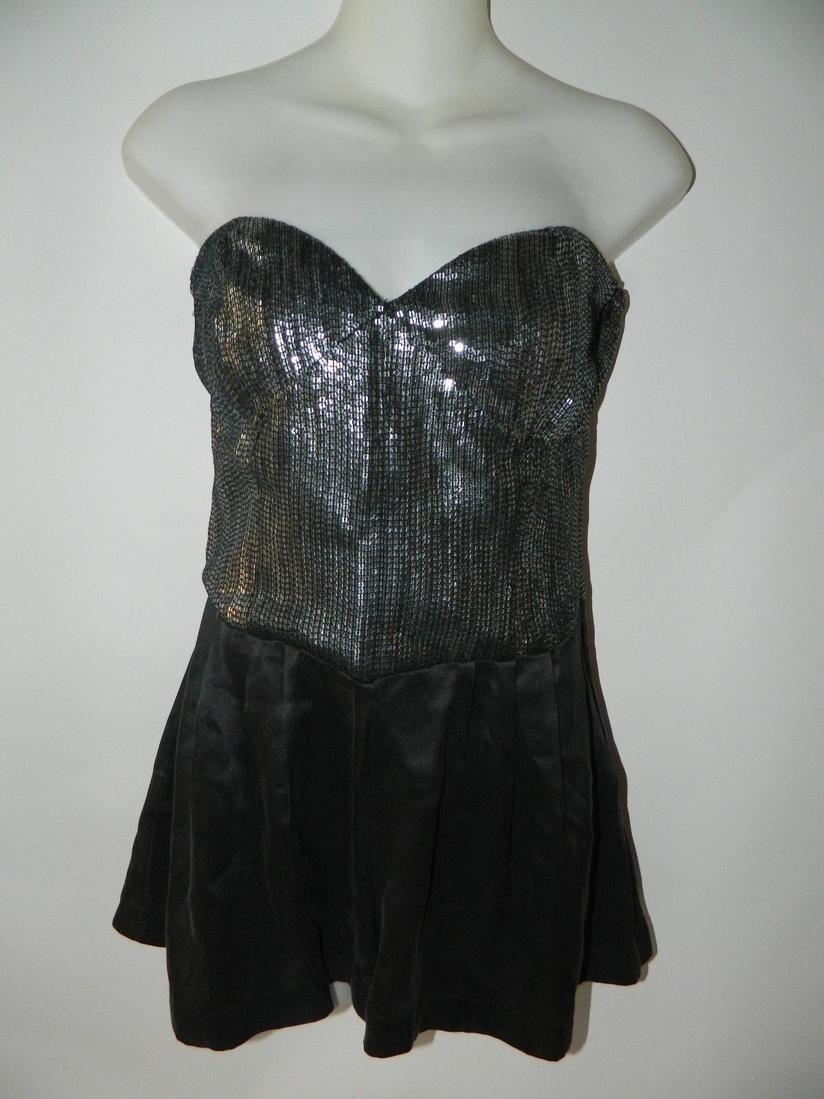 Dolce Vita Romper Black Strapless with Silver Sequins Romper Size S
