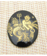 Neptune Trident Aquarius Zodiac Horoscope Hand Painted Glass Cabochon Vi... - $29.65