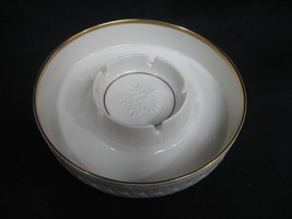 Vintage Lenox Ashtray Cream Snowflake in Center 24 kt. Gold Rim - $21.73