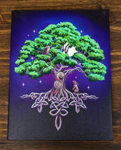 Tree Of Life Celtic Knotwork In Starry Night Wood Framed Canvas Wall Decor - $17.99