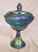 Indiana Glass Iridescent Carnival glass Wedding Bowl Compote - $16.20