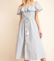 Blue Stripe Off Shoulder Dress, Ruffle Off Shoulder, Blue Striped Dress, Womens