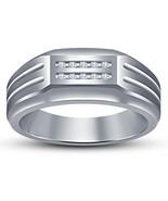 Mens Diamond Wedding Simple Band Ring 14k White Gold Finish 925 Sterling... - $86.99