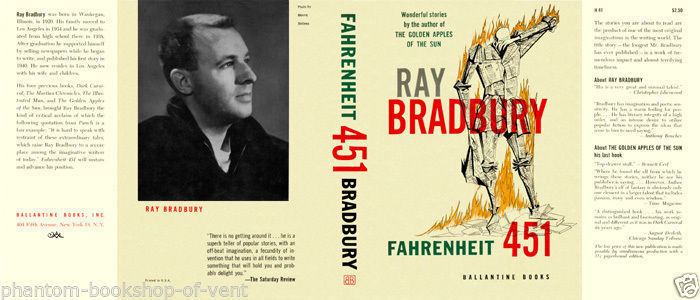 Bradbury-Fahrenheit 451 facsimile dust jacket for the 1953 1st book ed.