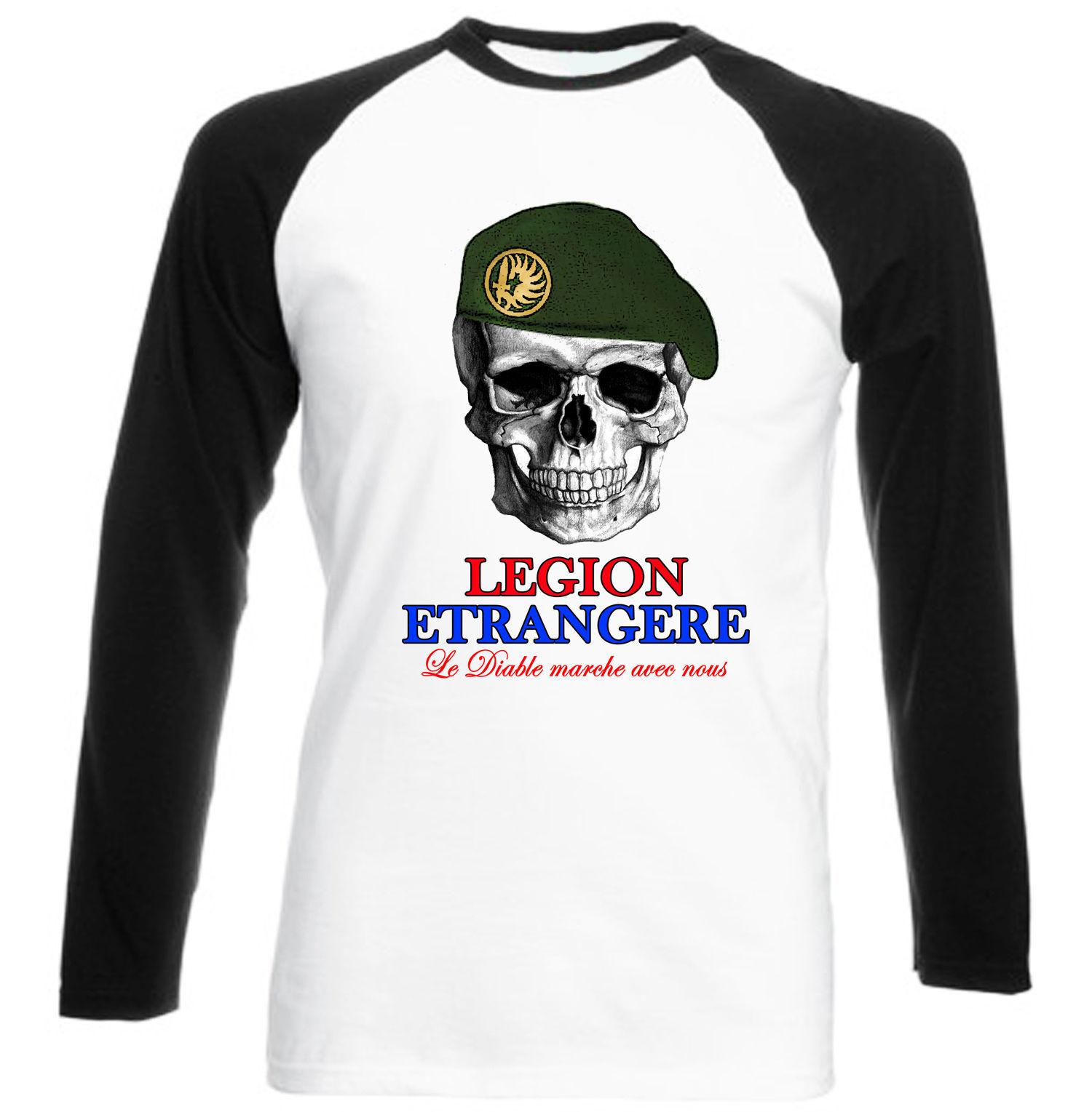 FRENCH LEGION ETRANGERE - NEW COTTON BLACK SLEEVED BASEBALL TSHIRT - $27.61