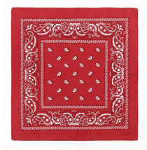 NEW MEN'S PREMIUM 12 PACK COTTON PAISLEY HEAD WRAP SCARF WRISTBAND BANDANA RED