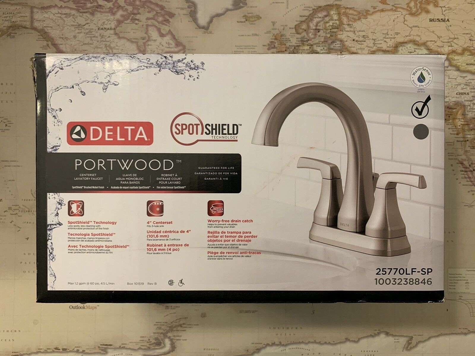 "Primary image for Delta Portwood 4"" Centerset Bathroom Faucet Brushed Nickel #25770LF-SP (Scuffs)"