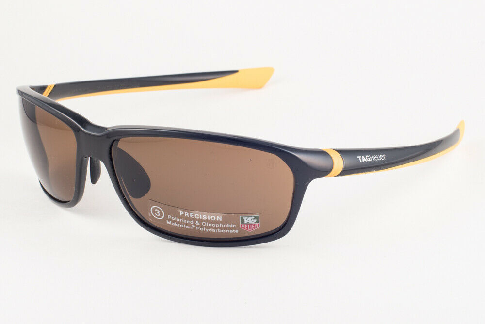 Primary image for Tag Heuer 27 Degree 6022 Black Yellow / Brown Polarized Sunglasses TH6022 210