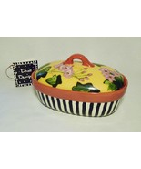 Droll Designs Ceramic Small Casserole with Lid - Stripes and Flowers - $85.00