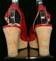 Franco Sarto 'Carnival' red peep toe buckle slingback cork platform wedges 9M image 4