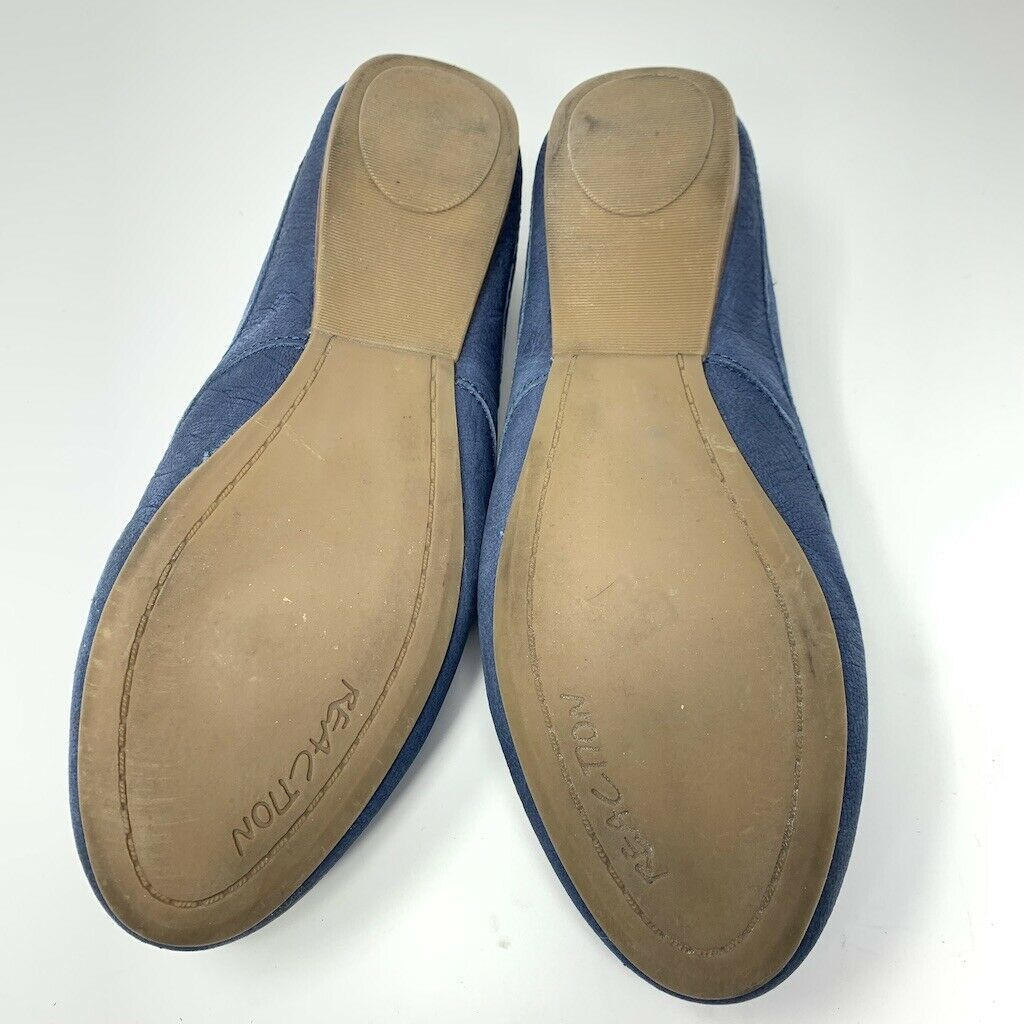 Kenneth Cole Reaction Womens Leather Flats, Size 8 M, Blue, Leather Tassel