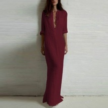 Burgandy Wine Long Sleeved Button Up V Neck Sheer Beach Tunic Lounger Robe - $43.95