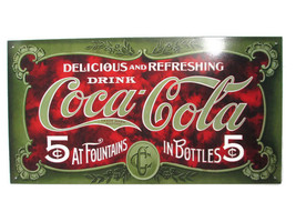 Coca-Cola  Large Tin Metal Tacker Sign Green Coca-Cola 5 Cents - $39.59
