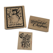 Lot of 3 Rubber Mounted Wood Stamps PSX Designs Winter Holiday Snowman - $19.99