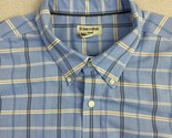 St John's Bay Button Up Shirt Mens 2XL Blue Short Sleeve Check Iron Free Casual