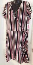 1x New Side Wrap Knit Comfort Dress Bobbie Brooks Pink Black Striped 18 ... - $14.99