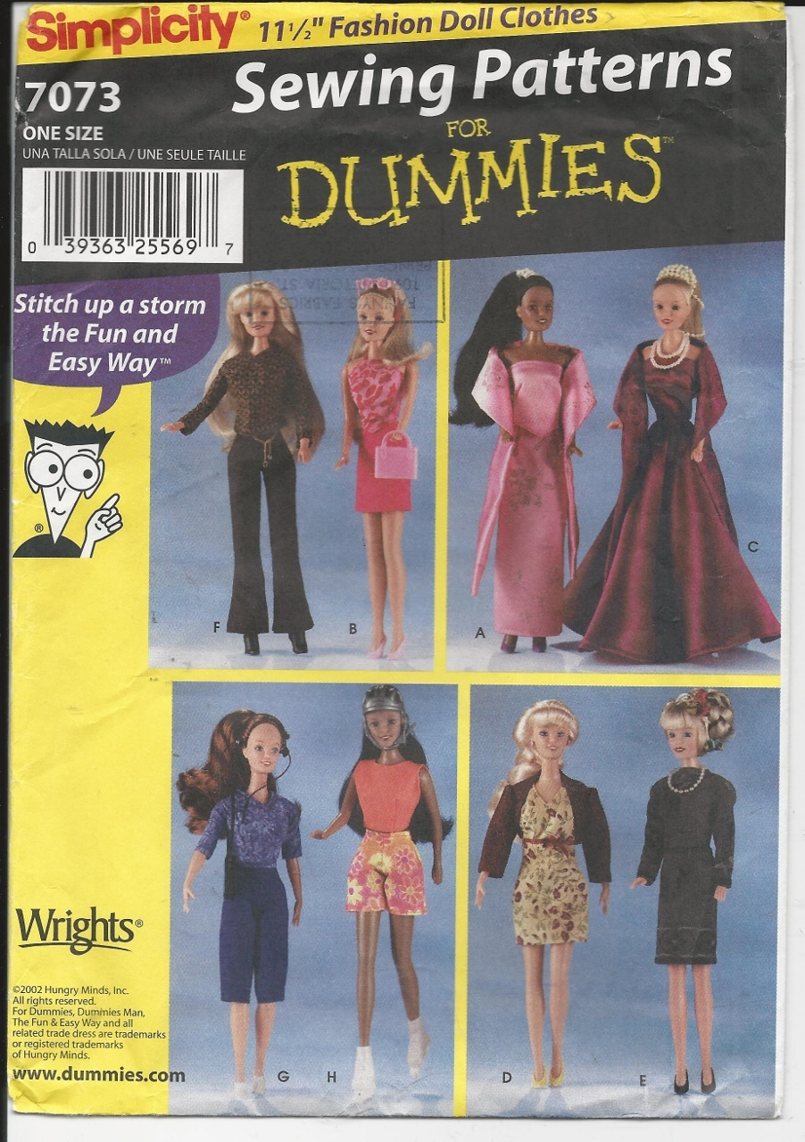 Simplicity 7073 fashion doll clothes pattern   sewing for dummies