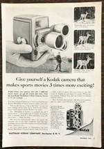 1957 Kodak Medallion 8 Movie Camera Print Ad Hunter Hunting Deer Theme - $10.34