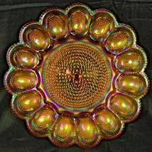 Vintage Carnival Glass Hobnail Deviled or Easter Egg Dish Plate Iridesce... - $24.95