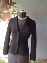 Talbots Long Sleeve Black Cotton Knit Casual Button Front Jacket Size 4 - $23.76
